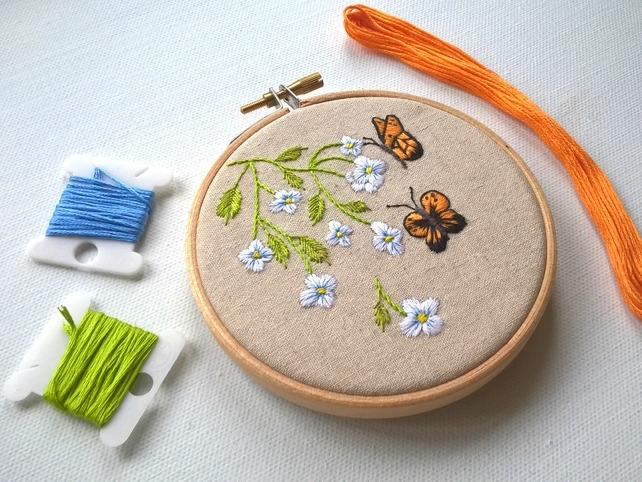 Embroidered Hoop - Butterflies and flowers
