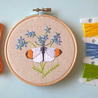 Embroidered Butterfly Hoop (Free UK P&P)