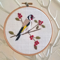 Goldfinch Embroidered Hoop Art (Free UK P&P)