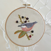 Nuthatch Embroidered Hoop (Free UK P&P)
