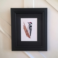 Embroidered Woodpecker - Ready to Frame (Free UK P&P)