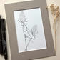 Bird on Teasels Ink Drawing (free UK p&p)