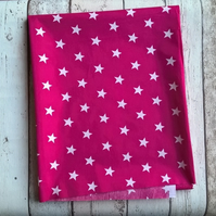 Polycotton Fabric Piece - Pink with White Stars
