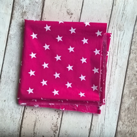 Polycotton Fabric - Pink with White Stars