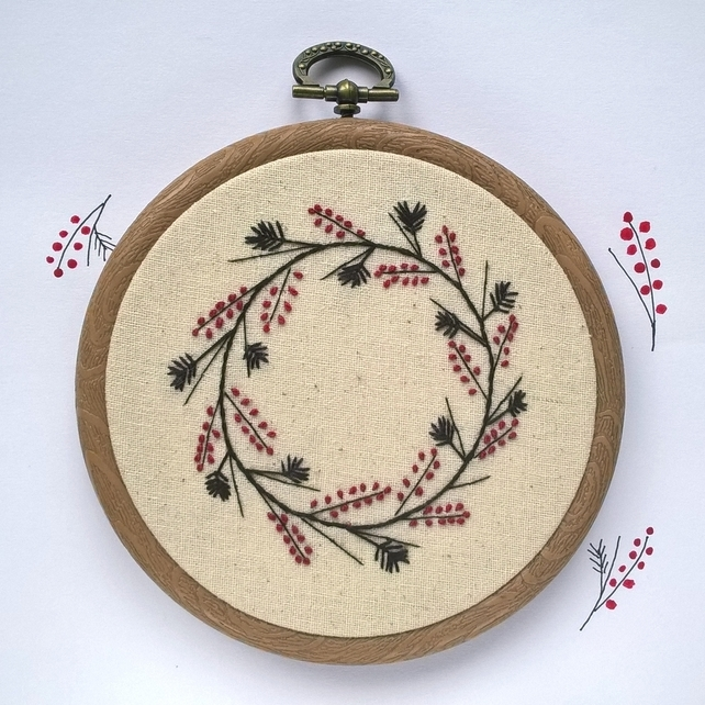 Embroidered Winter Wreath