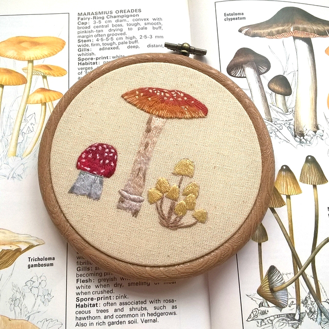 Embroidered Fungi Hoop Art