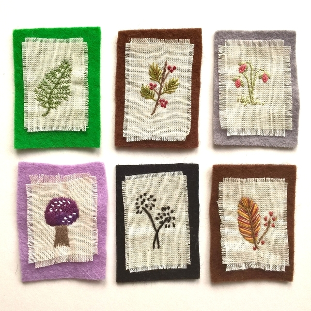Miniature Botanical Embroideries - Set of 6 (Free UK P&P)