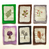 Miniature Botanical Embroideries (Set of 6)