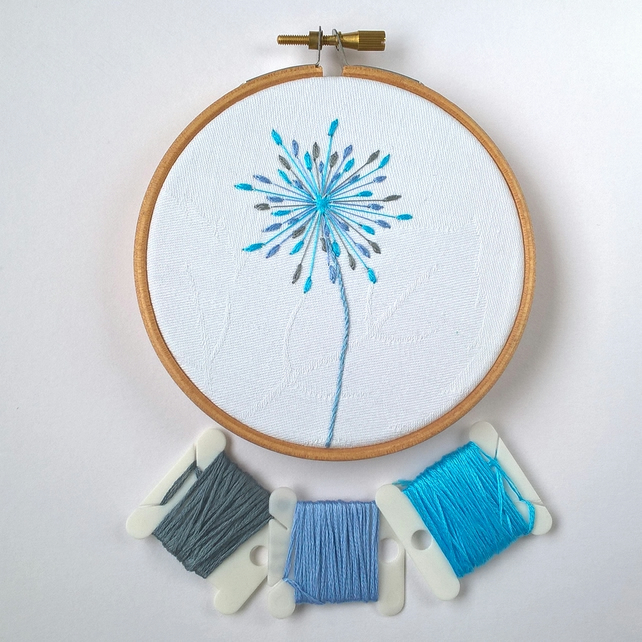 Embroidered Seed Head Hoop - Blue