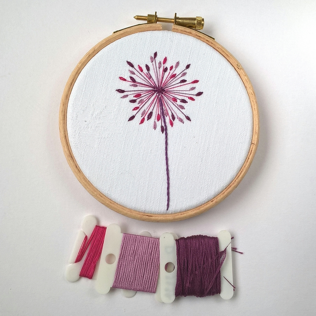 Embroidered Seed Head Hoop - Purple