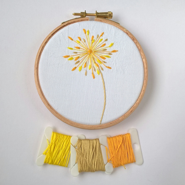 Embroidered Seed Head Hoop - Yellow