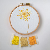 Embroidered Seed Head Hoop - Yellow (Free UK P&P)