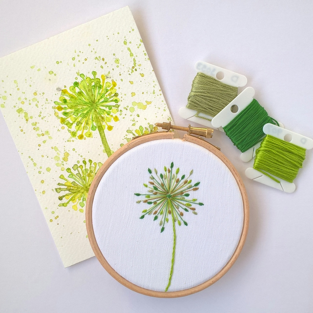 Seed Head Embroidered Hoop