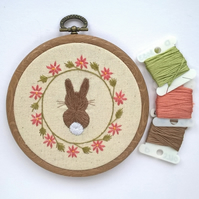 Hand Embroidered Bunny Hoop Art