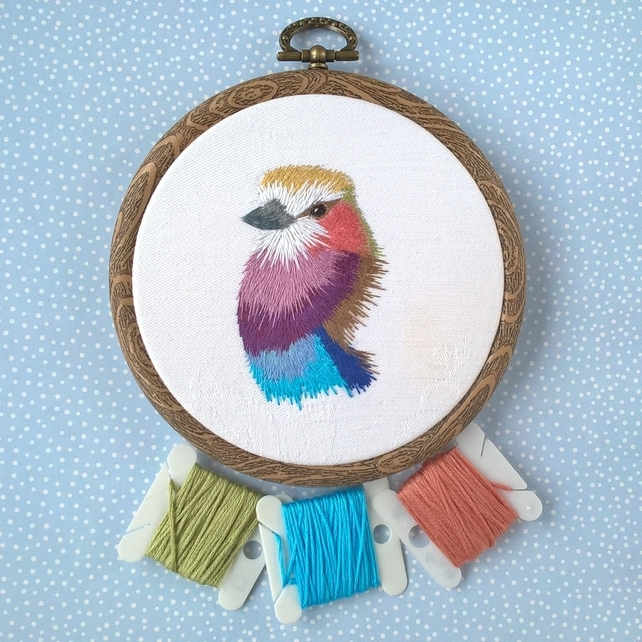 Hand Embroidered Bird (Free UK P&P)