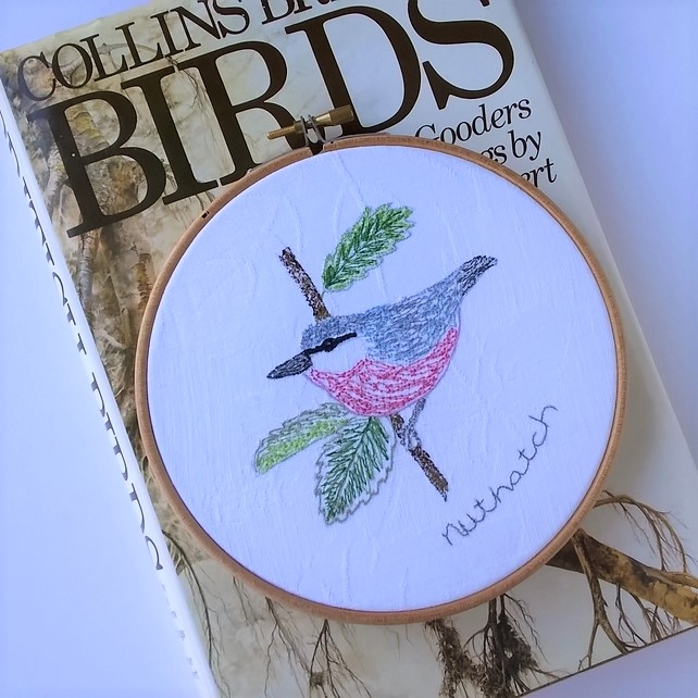 Embroidered Bird Hoop - Nuthatch