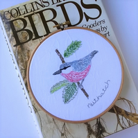 Embroidered Bird Hoop - Nuthatch (Free UK P&P)