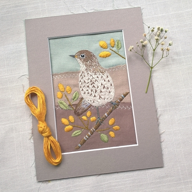 Embroidered Song Thrush - Ready for Framing