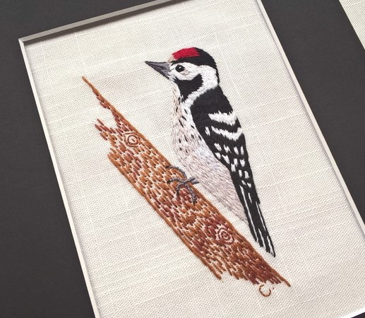 Embroidered Woodpecker - Ready to Frame