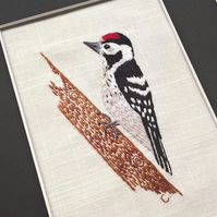 Embroidered Woodpecker Art - Ready to Frame