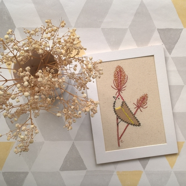 Goldfinch and Teasels Textile Art - Ready for Framing
