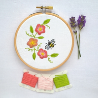 Embroidered Flowers and Bee Hoop (Free UK P&P)