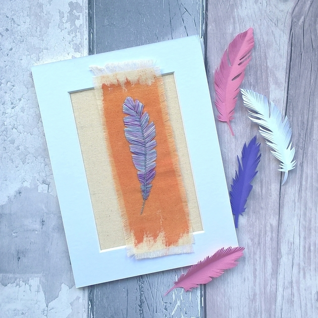 Embroidered Feather Textile Art (Free UK P&P)