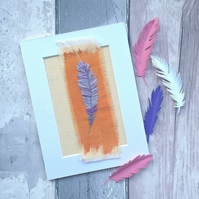 Embroidered Feather Textile Art