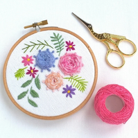 Hand Embroidered Floral Hoop