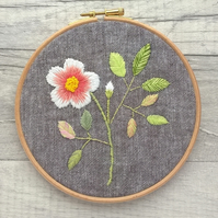Dog Rose Embroidered Hoop