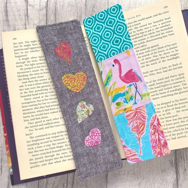 Flamingo and Hearts Bookmarks - Set of 2