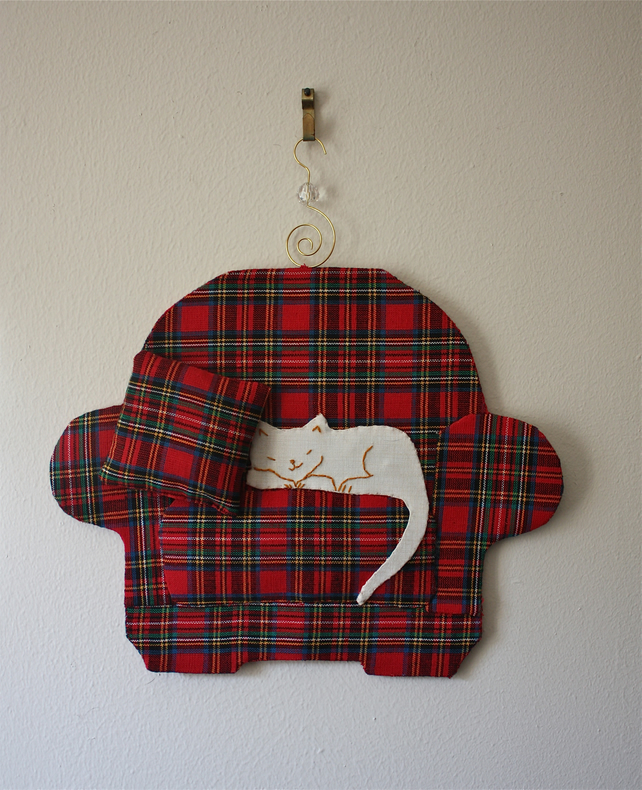 'Snoozing Cat' Tartan Wall Hanging