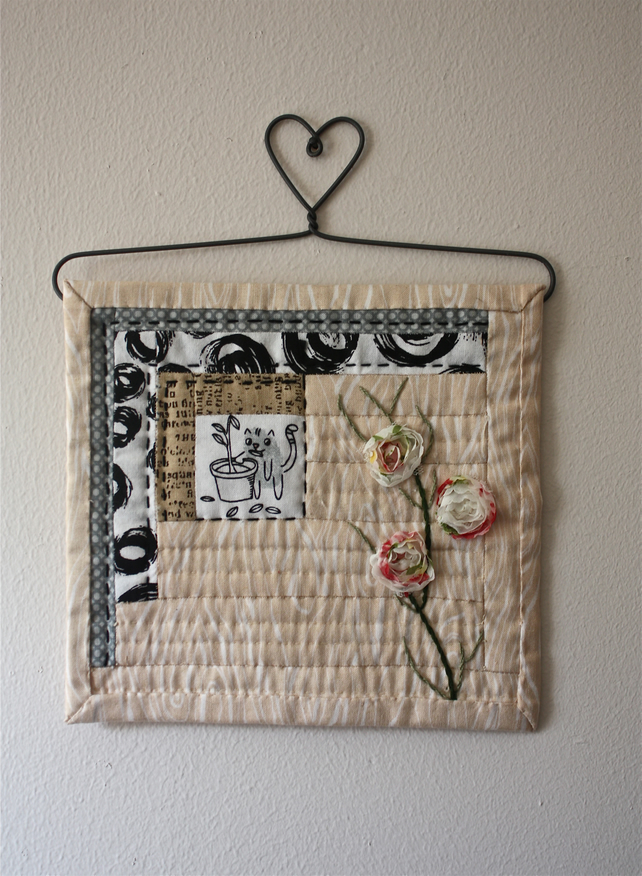 39 cat in the garden shed 39 mini wall quilt folksy for Garden shed quilting