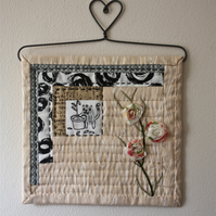 'Cat in the Garden Shed' Mini Wall Quilt