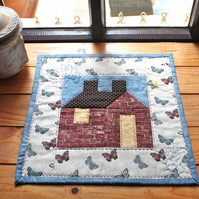 'The Hut on Butterfly Hill' Mini Quilted Surface Decoration