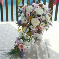 WEDDING BOUQUET SUMMER FLOWERS BRIDAL BOUQUET WITH MATCHING BRIDESMAIDS POSY