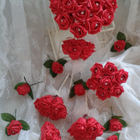WEDDING FLOWERS PACKAGE ARTIFICIAL ROSES WITH DIAMANTE