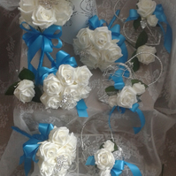 WEDDING FLOWERS PACKAGE WHITE  ROSES WITH DIAMANTE & BROOCHES