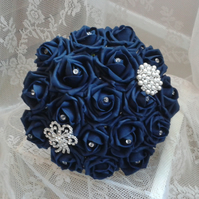 WEDDING BOUQUET BRIDES POSY ARTIFICIAL NAVY  ROSES VINTAGE BROOCH