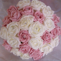 WEDDING FLOWERS BRIDES BOUQUET IVORY PALE PINK ROSES WITH DIAMANTE CENTRES