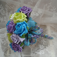 WEDDING FLOWERS BRIDES BOUQUET 3 BRIDESMAID POSIES BRIGHT SUMMER ROSES & RIBBON