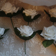 6 Rose Buttonholes for the Groom & wedding guests