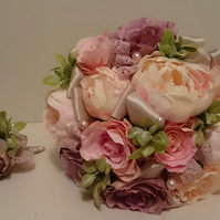WEDDING FLOWERS SILK BRIDES BOUQUET OF PEONY ROSES, LACE, SATIN & PEARLS