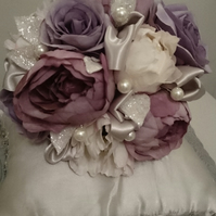 WEDDING FLOWERS SILK BRIDES POSY BOUQUET OF PEONY ROSES,  SATIN & PEARLS