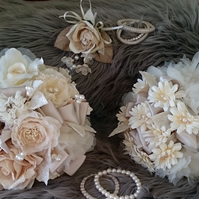 WEDDING FLOWERS SILK BRIDES POSY BOUQUET OF VELVET  SATIN & PEARLS