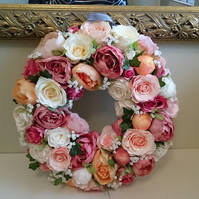 Everlasting Large Hanging Wall Door Wreath Artificial Rose Garland of Roses 40cm