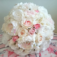 ARTIFICIAL WEDDING FLOWER COLLECTION SILK BRIDES BOUQUET OF PEONY ROSES