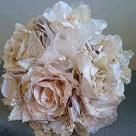WEDDING FLOWERS SILK BRIDES POSY LARGE BOUQUET OF VELVET SATIN & PEARLS