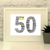 50 Fifty Birthday or Golden Wedding Anniversary Personalised Print