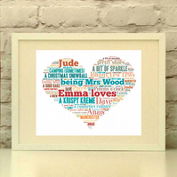 Personalised Loves Heart Print in your choice of colours